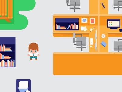 Game Concept park desk office character top down flat game