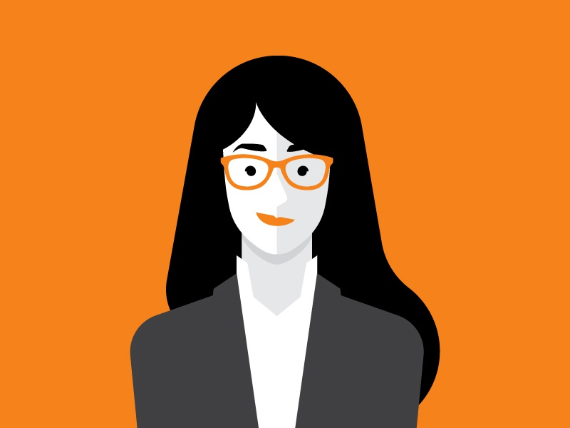 Character Styles simple flat glasses woman bank animation character design