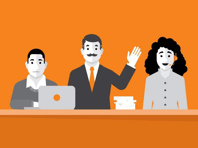 Specialists suit specialist laptop collaborate team people characters orange