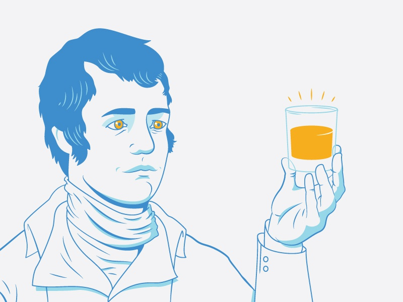 Ole Robert Burns blue beverage person illustration portrait poet scotish scotch whiskey burns robert