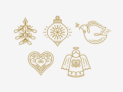 Holiday Icons gold card christmas holiday illustration icons angel dove heart ornament mistletoe