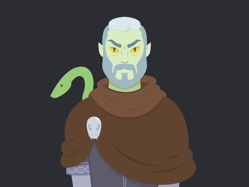 Portrait of a Wizard hero snake wizard portrait character illustration dungeons and dragons dragons dungeons
