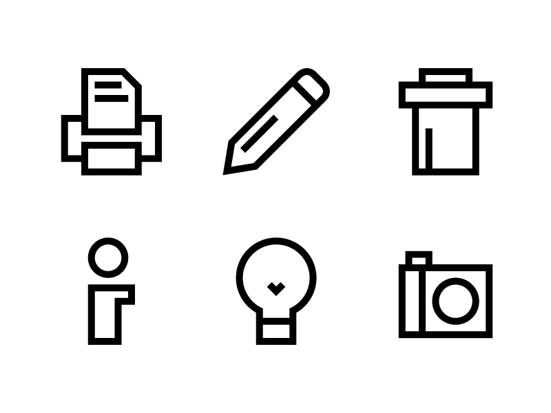 Icons icons bulb trash edit pencil print info caption camera photo