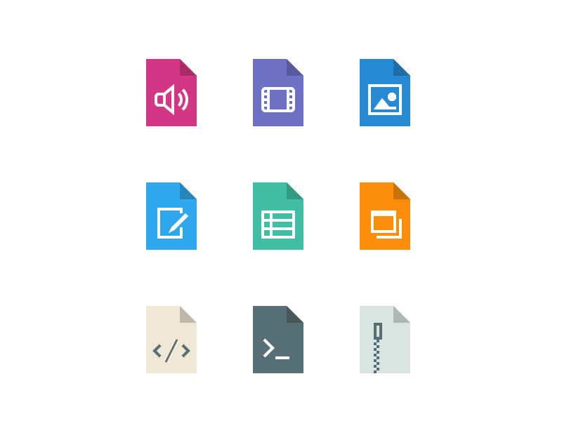 Flat File Types flat filetypes mime icons page paper