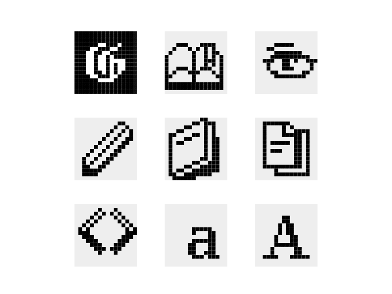 Retro Icons retro icon pencil book eye g block pixel