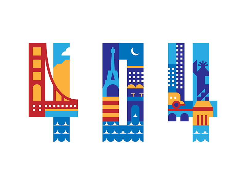 404 bright color simple minimalist modern block city 404 illustration