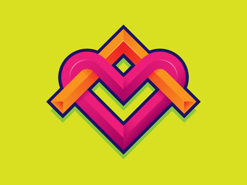 Badge glyph symbol isometric neon bright heart
