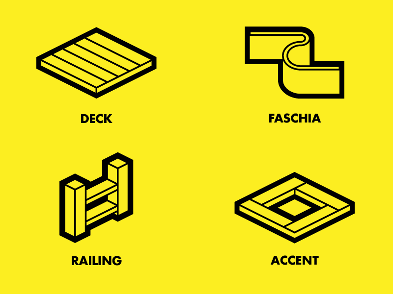 Deck Icons icons simple clean yellow decking deck railing faschia ui