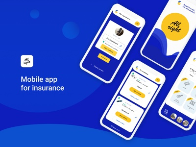 Insurance App. Complete iOS and Android project yellow blue mobile app financial protection application ux ui design insurance interface mobile app