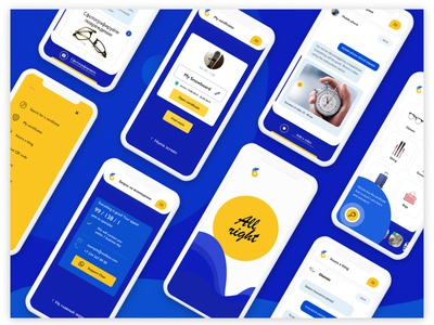 Insurance App. Complete iOS and Android project mobile protection financial insurance yellow blue ui ux interaction interface application android ios app design mobile app