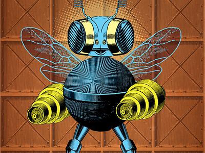 Humble bee experiment retro character machine robot illustration