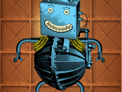 On guard collage machine retro character illustration robot