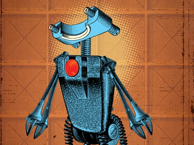 Carrying Hope collage retro character machine robot illustration