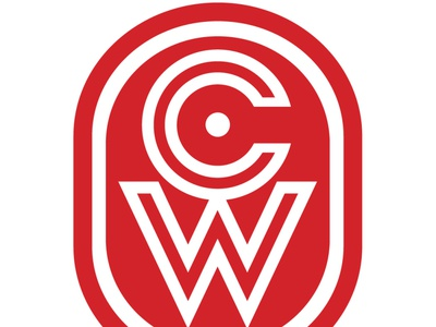 CW chop mark printmaking wordmark logo design