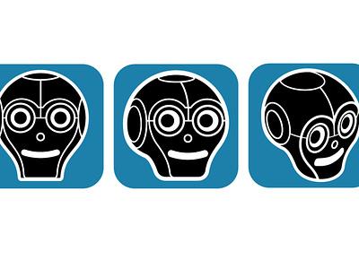 Andie App app icon character robot illustration brand identity identity logo app