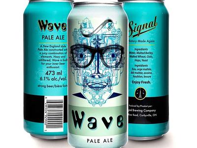 Wave Pale Ale Beer Can collage packaging design craftbeer illustration branding beer label beer art beer can