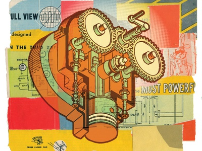 Spun face diagram character retro design experiment robot machine illustration