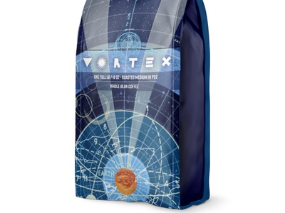 Vortex Coffee retro logo branding design collage vortex packagedesign coffee illustration