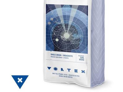 VortexPkg brand illustration coffee packaging