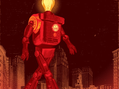 Red character retro machine electricity illustration robot