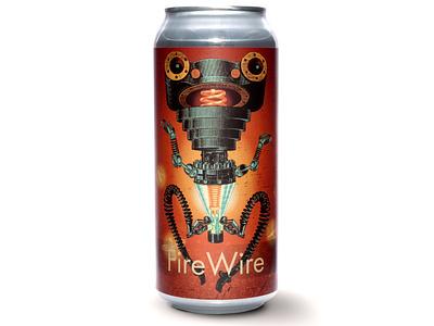 Signal Firewire Label character retro logo robot illustration beer art
