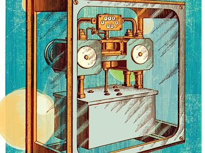 Isolation collage machine isolation pandemic character retro experiment illustration