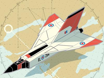 Avro Arrow jet arrow diagram history aviation isometric illustration vector