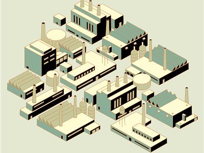 Old school industry building industry factory illustration isometric illustration