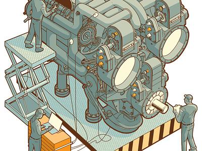 Tune Up design experiment robot machine illustration