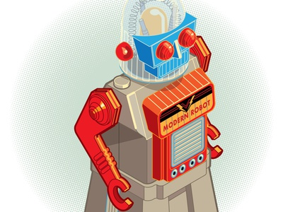 Isometric Study: Modern Robot, Yonezawa, 1950s design retro toy machine study perspective illustration isometric robot