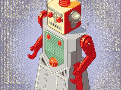 Isometric Study no. 3 Chief Robotman, Yoshiya, 1950s retro toy vector drawing isometric robot machine illustration