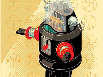 Isometric Study no. 12 Robby the Robot, Nomura, 1950s illustrator vector illustration robot toy isometric