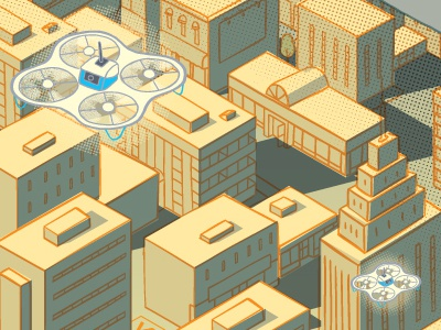 Drone deliveries technology disruption drone isometric illustration urban city