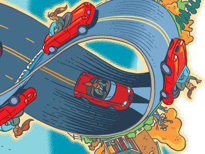 Commuting Season working commute infinity car driving illustration highway moebius strip traffic