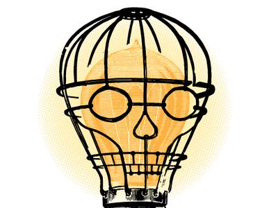 Utility character face collage illustration creativity light skull