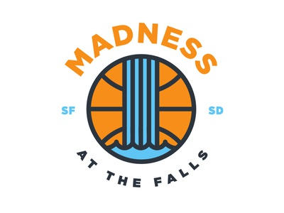 Madness at the Falls illustration blue orange march madness tournament basketball waterfall