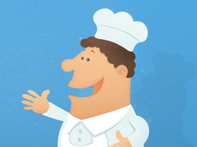 Baker illustration character blue vector website