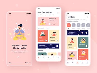 Meditation & Sleep Mobile App sleep meditation creative ui mobile ui mobile app figma design app uiux