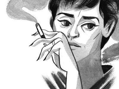jessica lange editorial portrait gouache illustration