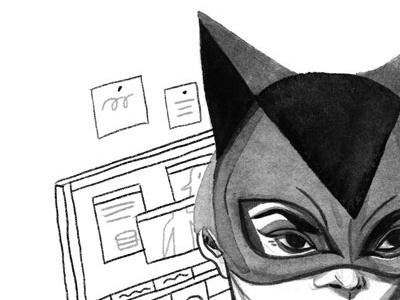 catwoman portrait illustration gouache editorial