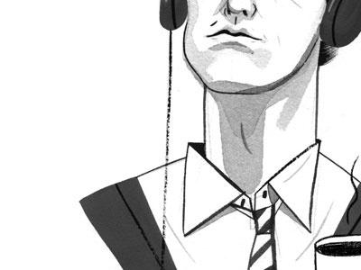 joseph gordon levitt portrait editorial illustration gouache