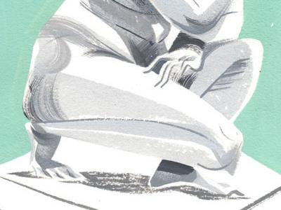 crouched venus illustration gouache statue painting