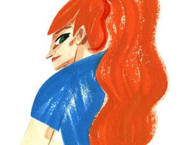 hair jezebel girl portrait hair gouache illustration