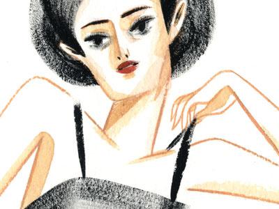 girl portrait gouache painting girl