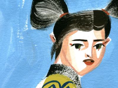 girl glance portrait gouache girl painting