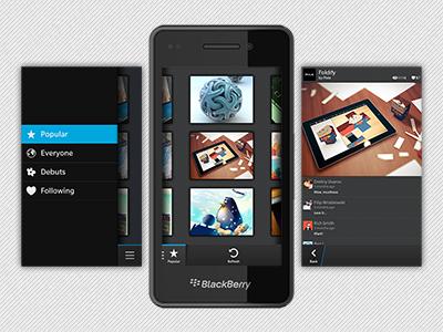 Dribbbery app bb10 dribbble blackberry
