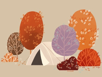 Adventure leaf colorful fall autumn forest tent camping