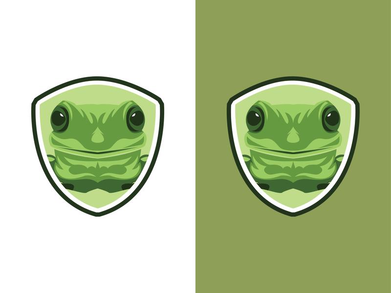 head frog minimal vector icon logo illustration