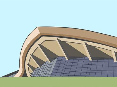 Complex of Karen Demirchyan monument flat design travel designs ussr panorama concert hall yerevan sidney complex vector simple shadow old minimal flat illustration design city architecture