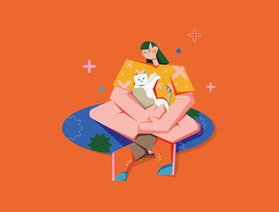 Cat Cuddles vectorart design summer graphics graphic illustration adobe illustrator girl character girls colorful vector illustration cat illustration illustration illustrator cuddle cat